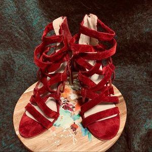 Choe Republic La Stiletto Velvet Gladiator Shoes